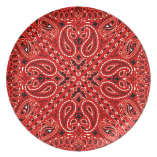 Red BBQ Paisley Western Bandana Scarf Dinner Plate