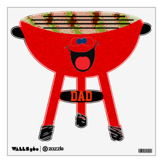 Red BBQ smiley wall decal