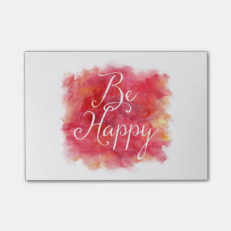 Red Be Happy Inspirational Watercolor Quote Post-it Notes