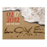 "Red Beach ""Love in the Sand"" Save the Date Postcard"