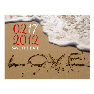 """Red Beach """"Love in the Sand"""" Save the Date Postcard"""