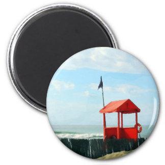 Red Beach Shack 2 Inch Round Magnet