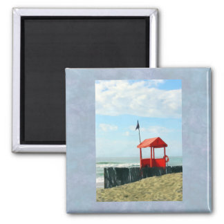 Red Beach Shack 2 Inch Square Magnet
