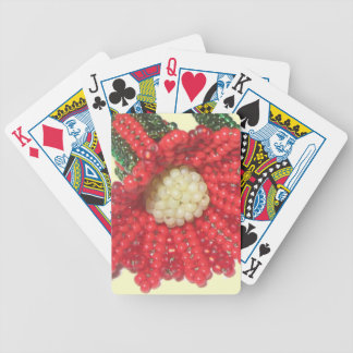 Red Beaded Trumpet Flower Poker Cards