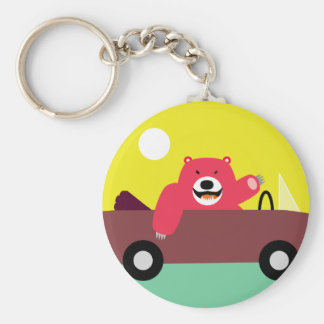 Red Bear in Car Basic Round Button Keychain