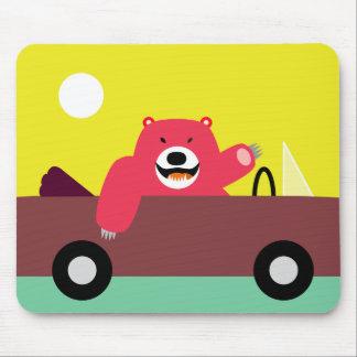 Red Bear in Car Mousepad
