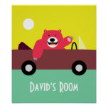 Red Bear in Convertible Poster