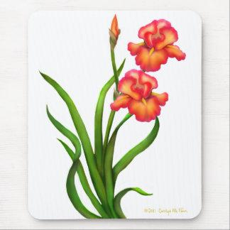 Red Bearded Iris Flowers Mousepad