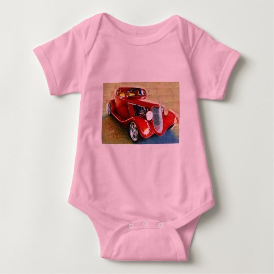 Red Beauty - Classic Collector's Car Baby Bodysuit