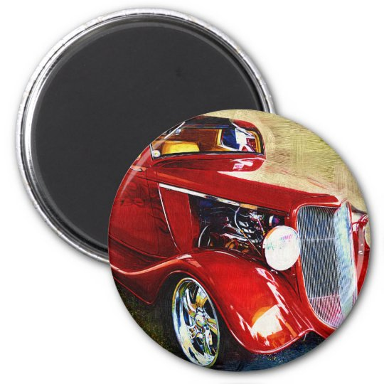 Red Beauty - Classic Collector's Car Magnet