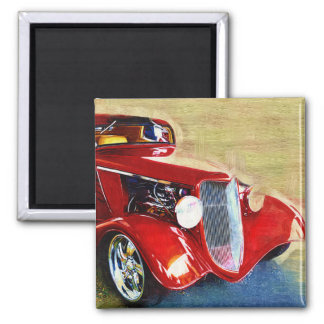 Red Beauty - Classic Collector's Car 2 Inch Square Magnet