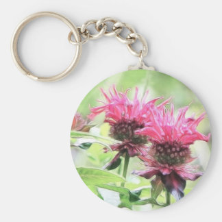 Red Bee Balm Blooms Keychain