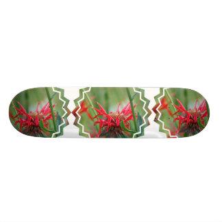 Red Bee Balm Flower Skateboard