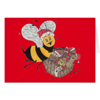 Red 'Bee Merry' Christmas Card