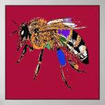 Red Bee Pop Art Poster