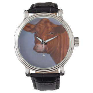 Red Beef Cow, Oil Pastel, Freehand Art Wrist Watch
