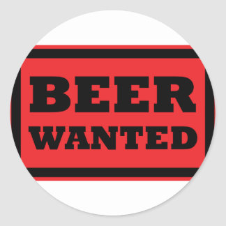 red beer wanted icon round stickers