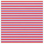 [ Thumbnail: Red, Beige, and Medium Slate Blue Stripes Fabric ]