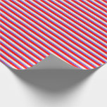 [ Thumbnail: Red, Beige, and Medium Slate Blue Stripes Wrapping Paper ]