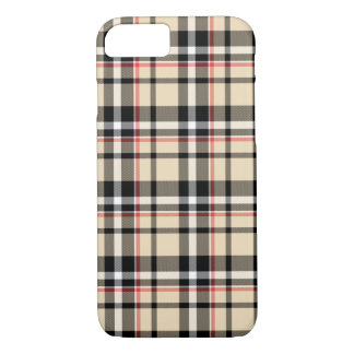 Red Beige Black White Squares Tartan Plaid Pattern iPhone 7 Case