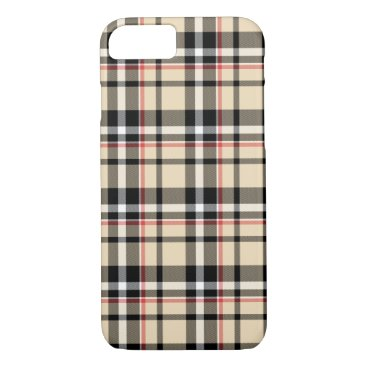 CaseConceptCreations Red Beige Black White Squares Tartan Plaid Pattern iPhone 8/7 Case