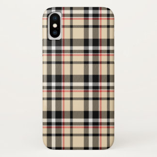 Red Beige Black White Squares Tartan Plaid Pattern iPhone X Case
