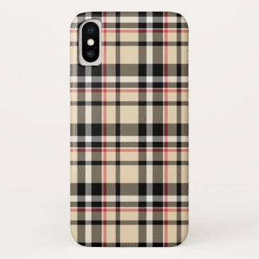 CaseConceptCreations Red Beige Black White Squares Tartan Plaid Pattern iPhone X Case