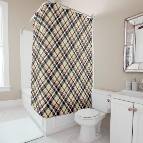 Red Beige Black White Tartan Plaid Pattern Shower Curtain