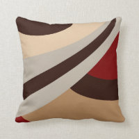 Red, Beige, Brown Modern Design Throw Pillow
