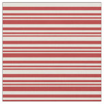 [ Thumbnail: Red & Beige Colored Lines Fabric ]