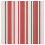 [ Thumbnail: Red & Beige Colored Stripes/Lines Pattern Fabric ]