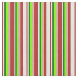 [ Thumbnail: Red, Beige, Dark Green, Green & Tan Colored Lines Fabric ]