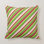 [ Thumbnail: Red, Beige, Dark Green, Green & Tan Colored Lines Throw Pillow ]
