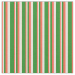 [ Thumbnail: Red, Beige & Forest Green Lines/Stripes Pattern Fabric ]