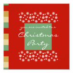 "Red Beige Green Christmas Party Invitation 5.25"" Square Invitation Card"