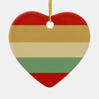 Red Beige Green Stripe Heart Tree Ornament