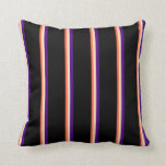 [ Thumbnail: Red, Beige, Indigo, and Black Lines Pattern Pillow ]
