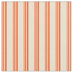 [ Thumbnail: Red & Beige Lined/Striped Pattern Fabric ]