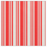 [ Thumbnail: Red & Beige Lines/Stripes Pattern Fabric ]