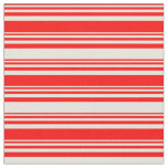 [ Thumbnail: Red & Beige Pattern of Stripes Fabric ]