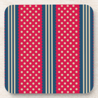 Red & Beige Polka Dots Navy Blue Stripes Pattern Coaster