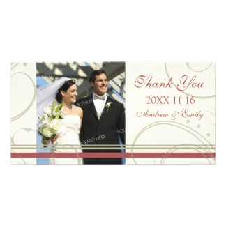 Red Beige Swirl Thank You Wedding Photo Cards