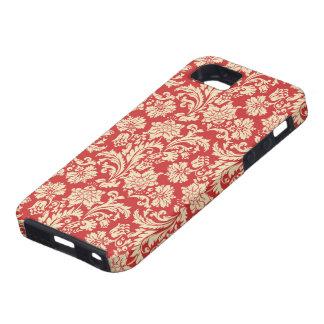 Red & Beige Vintage Floral Damasks iPhone SE/5/5s Case