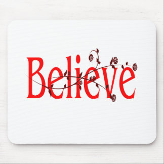 red believe with maroon flourish mouse pad