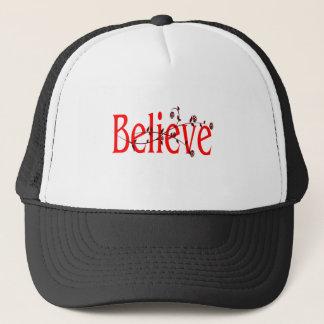 red believe with maroon flourish trucker hat