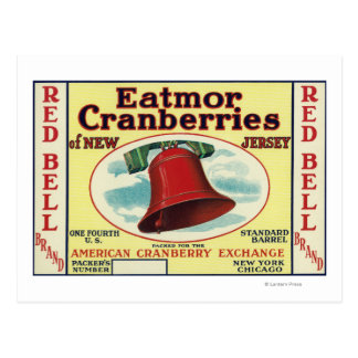 Red Bell Eatmor Cranberries Brand Label Postcard