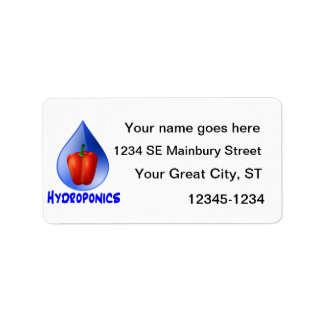Red bell pepper blue text blue drop hydroponics label