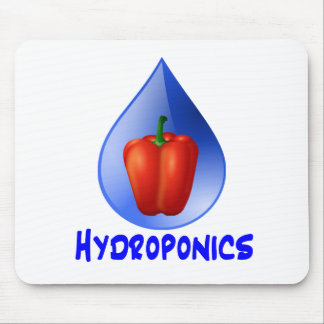 Red bell pepper blue text blue drop hydroponics mouse pad