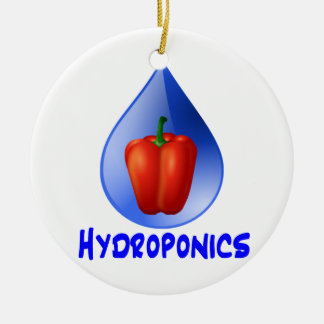 Red bell pepper blue text blue drop hydroponics Double-Sided ceramic round christmas ornament
