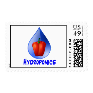 Red bell pepper blue text blue drop hydroponics stamp